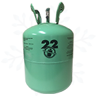 R22 Refrigerant 30 lb Cylinder with Snowflake Background